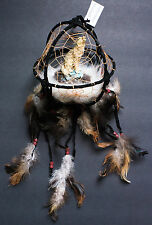 "Wolf figurine in black round dreamcatcher 6"" diameter"