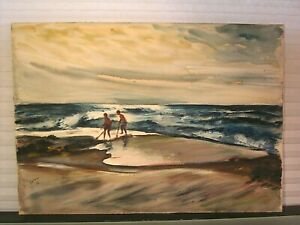 Painting Beach Seascape With Figures 1936 Signed Yovan Radenkovitch