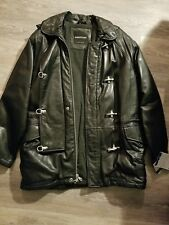 Andrew Marc hooded lamb skin leather coat jacket xl EXCELLENT CONDITION