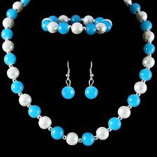 Turquoise & white Glass Pearl  Beads & silver colour Beads  necklace set