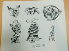 Vintage 1976 Picture Machine Spaulding Rogers Tattoo Flash Sheet 89 Elephant