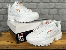 FILA UK 4 EU 37.5 LADIES DISRUPTOR II WHITE ORANGE LEATHER TRAINERS CHUNKY KICKS
