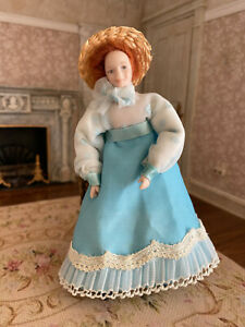 Vintage Miniature Dollhouse Artisan Porcelain Victorian Country Teen Girl Doll