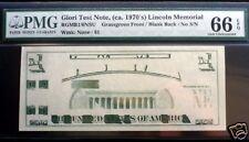 GIORI TEST NOTE, ca.1970'S NO S/N PMG 66 EPQ GEM QUALITY .