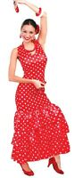 Ladies Sexy Flamenco Dancer Polka Dot Spanish Fancy Dress Costume Outfit 12-14