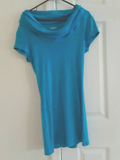Express sexy basics long tunic top t-shirt cowl neck short sleeves turquoise L