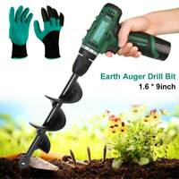 Power Garden Auger Earth Drill Bit Post Hole Digger Planter Ourdoor + Gloves Kit