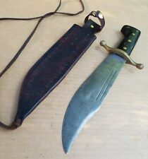 Old Collins Co Military WW2 Survival Knife Bowie Machete Sword #18 & Sheath