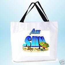 grand cabas sac shopping sac de plage  fond large personnalisé  prénom réf 04