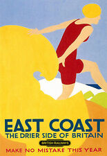 East Coast - Drier Side of Britain Railway Travel  Vacation A3 Art Poster Print