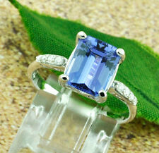 14k Solid White Gold Natural Diamond & AAA Emerald Cut Tanzanite Ring 2.67 ct