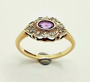 Small 9ct Yellow Gold Diamond and Amethyst Cluster Ring Size F