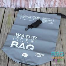 WATERPROOF DRY BAG 15L GREY HEAVY DUTY WATERTIGHT + SHOULDER STRAP OUTDOORS GEAR