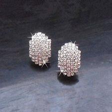 Crystal Stud Earrings Diamante Bridal Rhinestone Silver Dangle Wedding Prom Glam