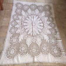 Vintage Or Antique Old  CutOut  Crochet Lace Tablecloth bedspread 84 X 54 Ivory