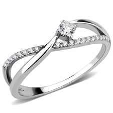 Ladies cz ring band solitaire accents stainless steel silver pretty elegant 261