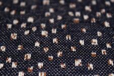 Ponte Roma Style Jersey Ditsy Squares Print Dress Fabric Material (Navy/Tobacco)