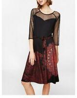 Desigual Black Stretch Dress Classic Print 3/4 lace sleeve size L/UK14 NWT (D35)