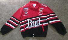 Vintage Dale Earnhardt JR Red & Black BUD Budweiser Cotton Jacket Size Large