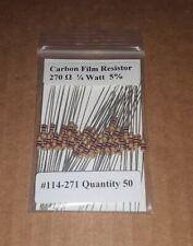 270 Ohm 1/4 Watt   5% Carbon Film Resistors (50pcs)  New Stock  USA Seller
