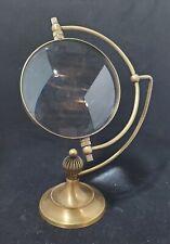 Vintage Adjustable Desktop Magnifying Glass Stand in Brass