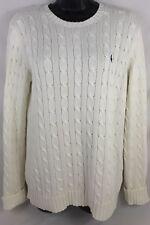 Womens Ralph Lauren Sport Cream Cable Knit Crewneck Sweater Size Large