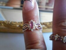Vintage 14K Rubies & Diamond Ring