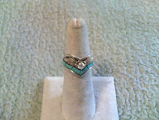"Ladies ""V"" Ring Sterling Silver/GF w/Turquoise & CZ by S Ray"