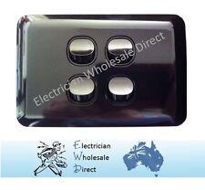 Black Gloss Four Gang Upmarket Light Switch Slim Wafer Slimline Electrical 4
