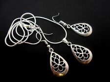 A TIBETAN SILVER FILIGREE TEARDROP NECKLACE &  EARRING SET. NEW.