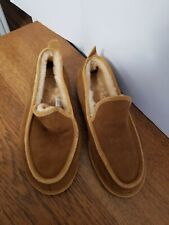 LL Bean Mens Size 9 Brown Suede  LinedMoccasins Slippers