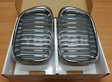 NEW CHROME FRONT KIDNEY GRILLS FOR BMW E39 SALOON TOURING 5 SERIES 1995 - 2003