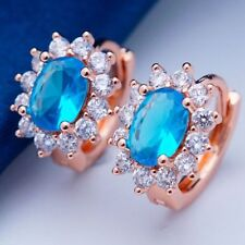 Nice New Rose Gold Plated Oval Shape Topaz Blue CZ w/Accents Mini Hoop Earrings