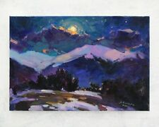 Night landscape painting IMPRESSIONISM Original Oil on canvas by A. Onipchenko