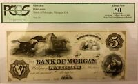 Bank of Morgan Georgia 1850's $5 Obsolete Currency ABNC Proof PCGS AU50