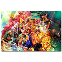 One Piece Strong World Anime Silk Fabric Poster 13x20 24x36 inch  Luffy ACE