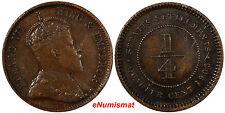 STRAITS SETTLEMENTS Bronze Edward VII 1905 1/4 Cent  SCARCE KM# 17