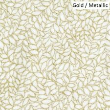 Honeystone Hill Metallic leaves cotton quilt fabric by Blank  BTY Gold / White