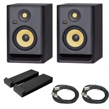 "New KRK RP5G4 Black ROKIT 5 G4 5"" Studio Monitors Speakers + Pads + Cables"