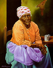 """African American Art """"My Work is Done"""" Black Woman Art Print by Alex Beaujour"""