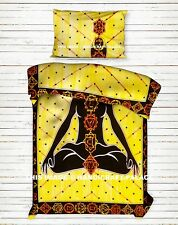 Yoga Meditation Indian Yellow Bedding Cover Handmade Tapestry Coverlet Bed Sheet