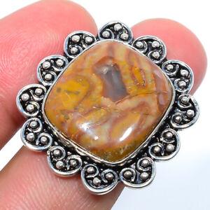 Wave Dolomite Gemstone 925 Sterling Silver Handmade Bali Ring s.8 M1528