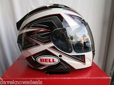 BELL motorcycle helmet VORTEX,FLAK white, adult MEDIUM w/tint shield
