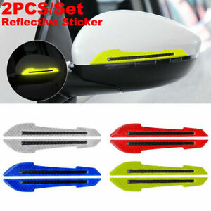 2pcs Car Rearview Mirror Scratch Protector Guards Warning Reflective Stickers