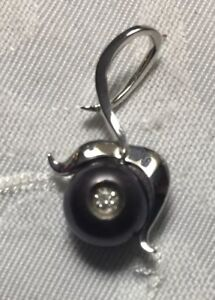 AUTHENTIC GALATEA 14 KT WHITE GOLD BLACK PEARL IN A DAISY PENDANT-stunning