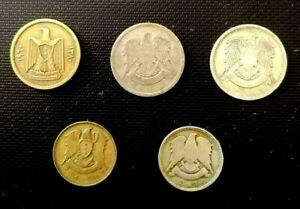 SYRIA + U.A.R. 5 ALL DIFFERENT DATES USED COINS  ( 1947-1965 )