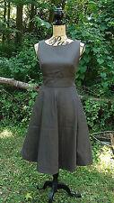 New J Crew Flare Boat Neck Sleeveless Cotton Dress in Dark Green Olive Sz 4