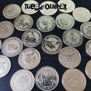 Pokemon Card Meiji Metal Battle Coins Silver Pikachu Japanese stars charizard