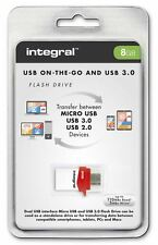 Integral 8GB OTG USB 3.0 Flash Drive for Android Tablets and Phones and PC/Mac