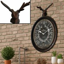 Wall Clock Antique Rust-coloured High 38 Cm Hirsch Animal Figurine Decoration